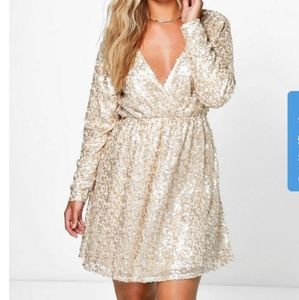 Gold sequined plus size boohoo dress